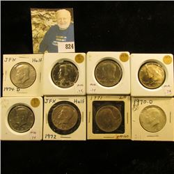 1970 D, 71 D, 72 P & D, 73 P & D, 74 P & D Kennedy Half Dollars, All BU.