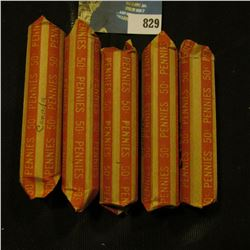 (5) paper wrapped Rolls of Canada small Cents, a quick check indicates they date in the forties, fif