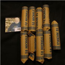 8 1/2 Rolls of what appears to be Old Jefferson Nickels, all bank-wrapped.