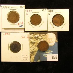 1882, 87, 88, 89, & 90 Indian Head Cents. G-VG.