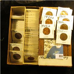 """6 1/4"""" Double Row Stock box with Cents dating 1954-55 in 1 1/2"""" x 1 1/2"""" holders. Several BU."""