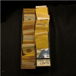 """10"""" Two by Two Stock box full of 1950-53 High grade Lincoln Cents of which many are in manilla envel"""