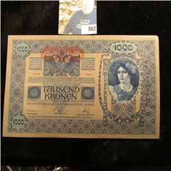 Series 1382 Austrian 1902 Thousand Kronen Bank Note, CU.