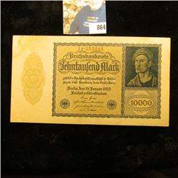 "1922 ""Dracula"" 10,000 Mark German Bank Note, near Crisp Unc."