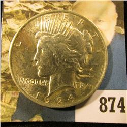 """1924 P U.S. Peace Silver Dollar. Almost Uncirculated. 'Doc"""" called this the Bird Drop variety becaus"""