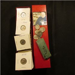 """9"""" Red Coin Stock Box full of later date Jefferson Nickels all worked up in 2"""" x 2"""" holders."""