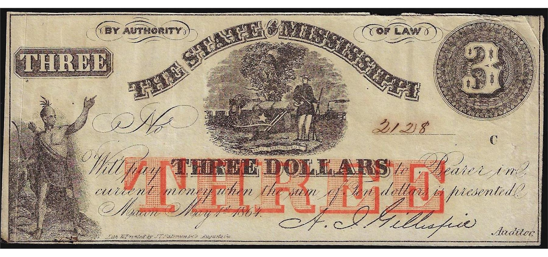 1864 3 The State Of Mississippi Obsolete Bank Note
