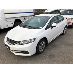 2013 HONDA CIVIC, 4 DOOR SEDAN, WHITE, GAS, AUTOMATIC, VIN#2HGFB2F48DH107407, 25,652KMS,