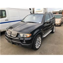 2005 BMW X5, 4 DOOR SUV, BLACK, GAS, AUTOMATIC, VIN#5UXFB53575LV16241, 247,802KMS,