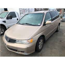 2002 HONDA ODYSSEY, 4DR STATION WAGON PASS VAN, BROWN, VIN # 2HKRL18622001668