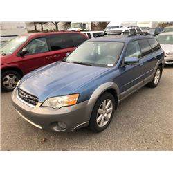2007 SUBARU OUTBACK, STATION WAGON, BLUE, VIN # 4S4BP61C777337522