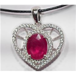 STERLING SILVER HEART SHAPED PENDANT WITH LARGE RUBY(APP 5CT) WITH CZ RETAIL VALUE $400