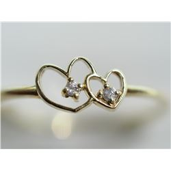 14KT GOLD DOUBLE HEART RING WITH DIAMOND RETAIL $500