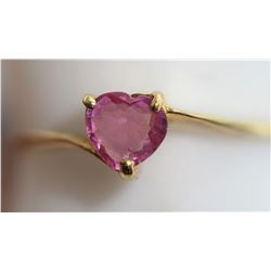 14KT GOLD HEART SHAPED GENUINE PINK SAPPHIRE(0.7CT) SUGGESTED RETAIL $800
