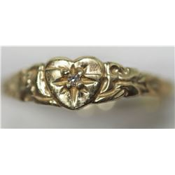 10KT GOLD DIAMOND BABY RING WITH DIAMOND RETAIL VALUE $300
