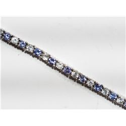 STERLING SILVER TANZANITE BRACELET WITH WHITE TOPAZ APPRAISED VALUE $795