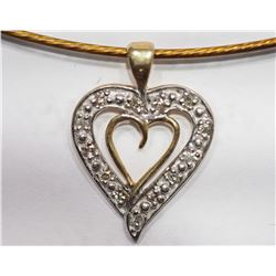 10KT GOLD HEART SHAPED DIAMOND PENDANT RETAIL $500