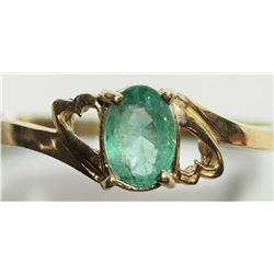 14KT GOLD EMERALD RING WITH 2 HEARTS ON THE SIDE RETAIL VALUE $800