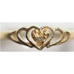 14KT GOLD HEART SHAPED DIAMOND RING RETAIL $600