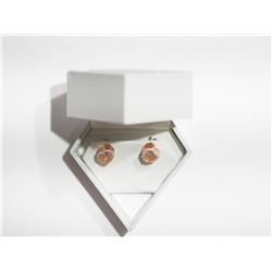 ROSE GOLD PLATED STERLING SILVER EARRING WITH DANCING CZ RETAIL $200