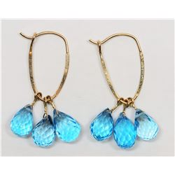 10KT  GOLD CHANDELIER STYLE EARRINGS WITH GENUINE BLUE TOPAZ(APP1OCT)HANDCRAFTED IN CANADA