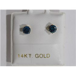 14KT GOLD EARRING WITH BLUE DIAMOND (0.38CT) RETAIL VALUE APPRAISAL $1300 MADE IN CANADA