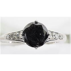 10KT WHITE GOLD DIAMOND RING WITH (1.9CT) BLACK DIAMOND AND (0.12CT) SIDE WHITE DIAMONDS