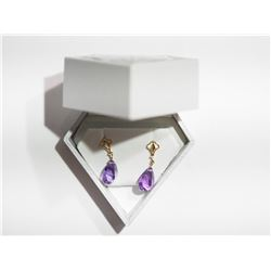 14KT GOLD DANGLING EARRINGS WITH LASER CUT AMETHYST (5CT) RETAIL $1000