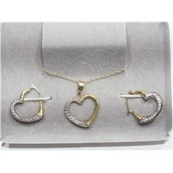 10KT GOLD HEART SHAPED EARRINGS AND PENDANT SET WITH CHAIN RETAIL VALUE $600