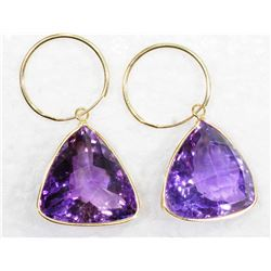 14KT. GOLD LARGE TRILLION CUT AMETHYST (37CT) FEBRUARY BIRTHSTONE APPRAISED $2000