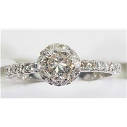 14KT GOLD HALO DIAMOND (0.5CT) RING WITH SIDE DIAMOND (0.28CT) APPRAISED $8422