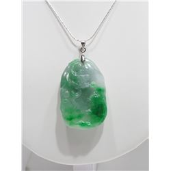 GENUINE JADEITE PENDANT (124CT) WITH STERLING SILVER CHAIN RETAIL $400
