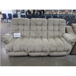 BEIGE 3 SEATER RECLINING SOFA