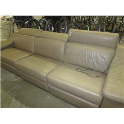 BEIGE 3 SEATER LEATHER RECLINING SOFA