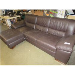 BROWN LEATHER 3 SEATER SECTIONAL