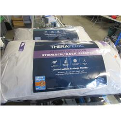 2 THERAPEDIC KING SIZE SIDE SLEEPER & STOMACH/BACK SLEEPER PILLOWS