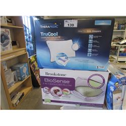 THERAPEDIC TRUCOOL DIAMOND LUXURY STANDARD QUEEN SIDE SLEEPER PILLOW/BROOKSTONE BIOSENSE 2-IN-1