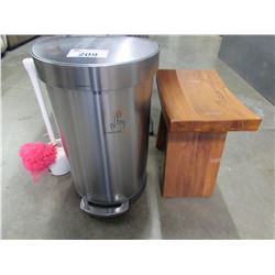 STAINLESS STEEL STEP CAN/TEAK SADDLE STYLE STOOL/PLUNGER/BATH SPONGE