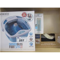 HOMEDICS SHOWER BLISS FOOT SPA WITH HEAT BOOST/HOMEDICS PORTABLE SHOWER DIFFUSER/WOMENS LARGE