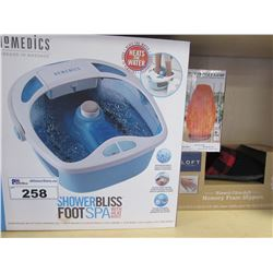 HOMEDICS SHOWER BLISS FOOT SPACE WITH HEAT BOOST/WOMENS MEMORY FOAM SLIPPERS/USB  SALT LAMP