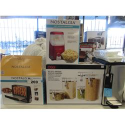 NOSTALGIA BACON EXPRESS COOKER/NOSTALGIA HOT AIR POPCORN MAKER/OGGI CANISTERS/STEP CAN/ICE CUBE