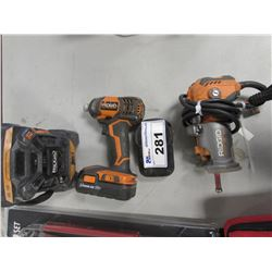 4 PIECE RIDGID TOOL SET (RADIO, DRILL, ROUTER, BATTERY)
