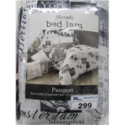 ALAMODE BED LAM TWIN SIZE PASSPORT REVERSIBLE COMFORTER SET