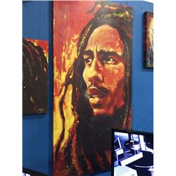 "STEPHEN FISHWICK ""BOB MARLEY"" OIL ON CANVAS TRANSFER ART PRINT MEASURES  53"" X 26 1/2"""