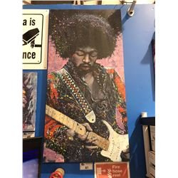 "STEPHEN FISHWICK ""JIMMY HENDRIX"" OIL ON CANVAS TRANSFER ART PRINT MEASURES  53"" X 26 1/2"""