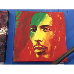 "STEPHEN FISHWICK ""BOB MARLEY"" OIL ON CANVAS TRANSFER ART PRINT MEASURES  19 1/2"" X 19 1/2"""