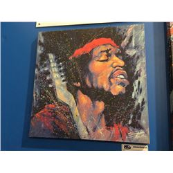 "STEPHEN FISHWICK ""JIMMY HENDRIX"" OIL ON CANVAS TRANSFER ART PRINT MEASURES  19 1/2"" X 19 1/2"""