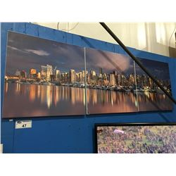 "3 PANEL ""CITY SCAPE"" ART PRINT ( 3 CORNER SHOW SLIGHT DAMAGE)"