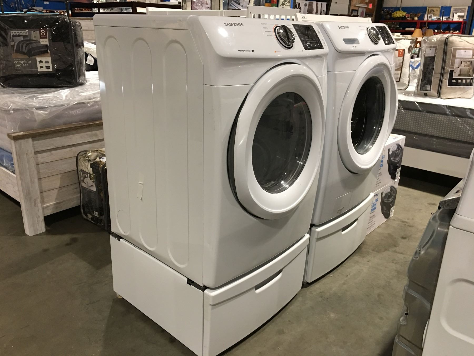 steam load pair sold samsung with bin pedestals self matching white separately and ajmadison cgi front shown washer dryer pedestal inch
