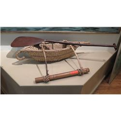 """Woven Lauhala Canoe and Wooden Paddle - Approx. 39"""" L (Paddle 31"""" L)"""